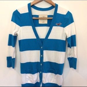 Hollister Blue and White Striped Cardigan